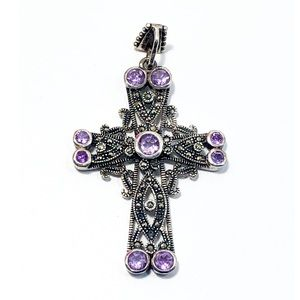 sterling silver amethyst & marcasite cross pendant